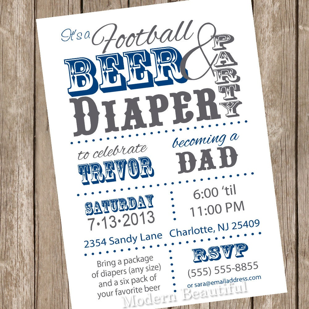 football beer and diaper baby shower invitation dad shower