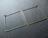 Square Hoop Earrings 14K Gold Filled Geometric Shaped Hoops Diamond Hand Shaped Metal Handcrafted Hammered Hoops