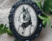 girl rabbit - victorian style brooch - black and white bunny portrait