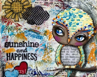Big Eyed Art Mixed Media Owl Giclee Art Print Signed Reproduction Sunshine & Happiness by Lizzy Love [IMG#115]