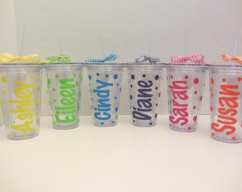 6 Personalized Acrylic tumblers: New larger 20 ounce acrylic tumblers with lid.  Mix and match. Great gifts.