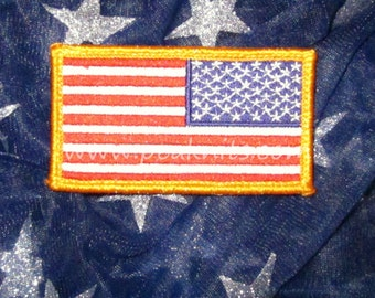 American Flag US Army Military Patch, Patriotic Embellishment for Scrapbooks, Photo Albums, Memory Books, Wreaths - Red, White and Blue