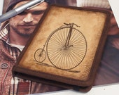 Kindle Leather Cover - Penny Farthing - Customizable - Free Personalization