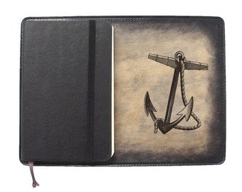 Moleskine Leather Notebook Cover [Large & Pocket Sizes][Customizable][Free Personalization] - Anchor
