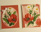 Beautiful  Rose-colored Flowers - Set of Two Note Cards - Silky-Feeling Finish - Very Unique