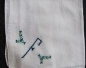 Solid White Cotton Hankie Monogrammed F