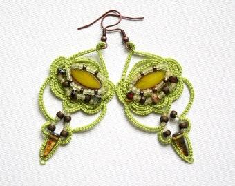 Artisan Chandelier Style Tatting Beaded Green Earrings