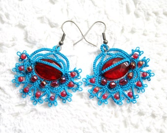 Turquoise Red Crystal Beaded Tatting Lace Earrings