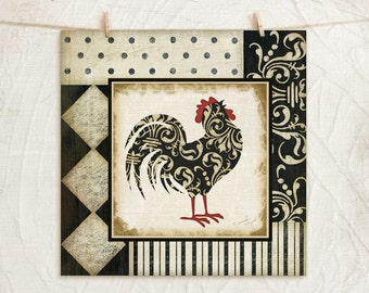Classic Rooster I 12x12 Art Print -Country, Kitchen Wall Decor -Decorative Patterns -Black, White, Red, Tan