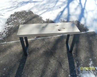 industrial and steel  bench coffee table with raw steel metal legs barn wood FREE SHIPPING reclaimed Life Tme Warranty