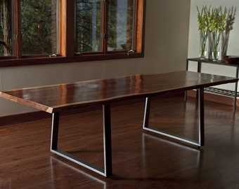 Live Edge Redwood (softwood) Dining Table or Large Desk, Steel Trapezoid Legs, Custom, 'Incline' Project