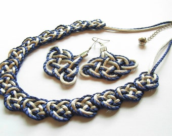 Chinese Knot Necklace with 925 Silver Earring Set - Blue
