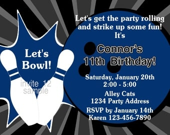 Bowling Invitation - Bowling Birthday Party Invitation - DIY Printable Birthday Party Invites - JPEG File #12 Blue or Gray