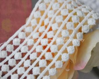 Cream White Cotton Venice Lace Trim 2.16 Inches Wide 2 Yards
