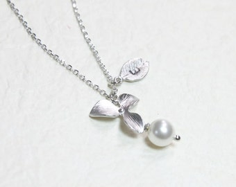 White Pearl orchid with personalized initial silver leaf Necklace - S2313-1