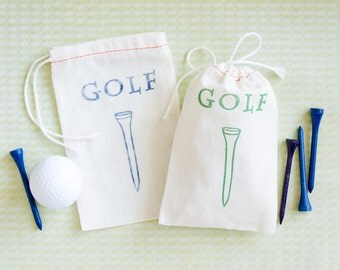 Golf Favor Bag - Tee Bag Gift - Golf Tee Bag Gift - Gold Wedding Favor - Gold Bachelor Party Favor - Bachelor Party Favor - Stag Party Favor
