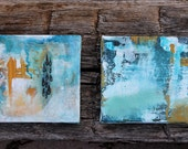 """The Rain Will Come  Two 6"""" x 6""""  Original abstract paintings"""
