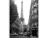 "Paris Photography, Eiffel Tower Print, Paris Decor, Paris home decor, Paris art - ""Around the Corner"" - Fine Art Photograph B&W"