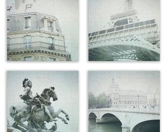 Paris Photography, Dreamy Paris Decor, Mint Grey Paris Print Set, Eiffel Tower Wall Art, Seine River - Set of 4 - Fine Art Photographs