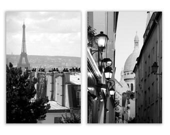 Paris Photography, Paris decor, Eiffel Tower, Montmartre, Paris rooftops, Paris photos - Set of Two - 4x6 or 5x7 Photographs B&W or Sepia