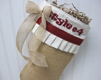 Burlap embroidered Christmas Stocking with red accents and bow - Style #4