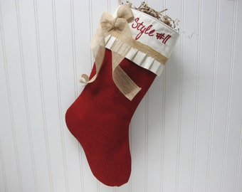 Pleated red burlap stocking with burlap strip and bow - Style #11