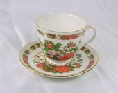 Vintage Duchess England Bone China Teacup and Saucer Asian Black Orange Flowers Gold Trim