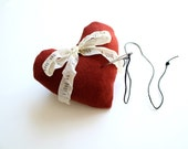 Personalized Red Heart Pincushion . gifts for mom lavender & crushed walnut handmade pin cushion