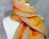 Nuno Felted Scarf Felted Wool Scarf Yellow Red Orange