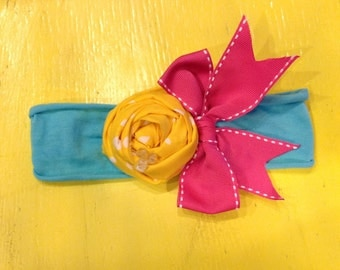 Turquoise, Yellow and Hot Pink Rolled Fabric Flower Headband