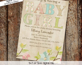 baby girl shower invitation floral baby sprinkle high tea shower couples diapers announcement vintage (item 136) shabby chic invitations