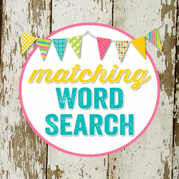 WORD SEARCH game card for baby or bridal shower, made to match any invitation, digital, printable file