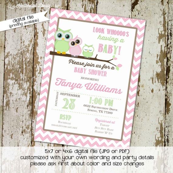 owl baby shower invitation owl first birthday baby girl shower chevron diaper shower book baby invite bash (item1306) shabby chic invitation