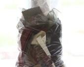 Fabric Scraps Grab Bag - Neutrals, Beige, Tan, Ivory, Brown, Bronze, Burnt Sienna, Gold