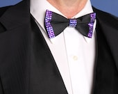 The Custom Dapper Dresser Tie: Black Satin Adjustable Bowtie with Swarovski Rhinestones