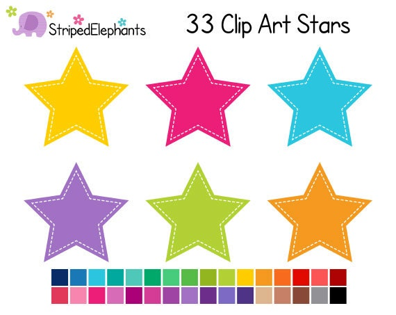 Stitched Star Clip Art - Digital Clipart - Instant Download - Commercial Use