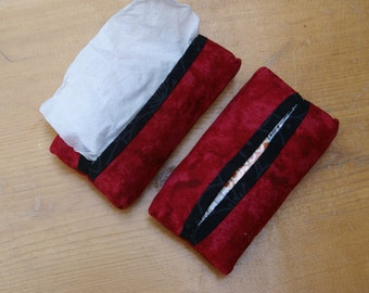 Handmade Red and Black Fabric Tissue Holders for  purse, pocket, diaper bag, child's backpack, vehicle console or sun visor