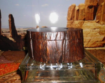 Vintage Primitive Wood Log Jewelry / Stash Box   Rustic  Secret Safe   One of a Kind    Unique   Home Decor