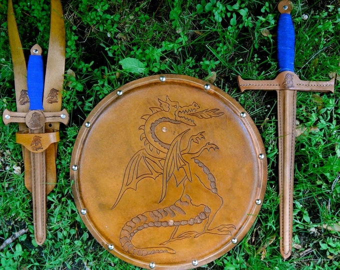COMPLETE Set - Sword, Dagger, Sword Belt,  & Shield w/ Dragon Emblem - Handmade Leather