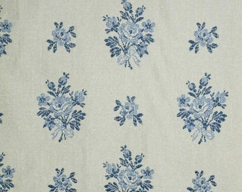 "Blue and White Nordic or French Style Woven Floral Fabric - 2 Yards 6"" - Priced For ALL"