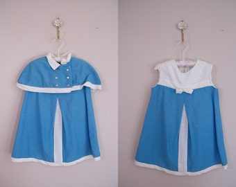 Vintage 1960s Girls Dress with Matching Caplet / Blue and White / Mod