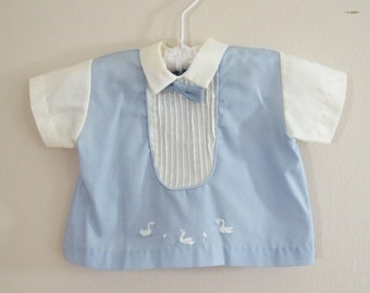 Vintage 1960s Baby Tuxedo Shirt / Blue Tuxedo / Infant up to 13lbs.