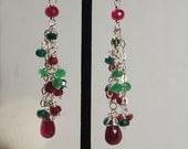 Ruby Emerald Earrings Long Chandelier Earrings Gemstone Earrings