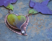 Copper Enameled Heart and Swallow Necklace