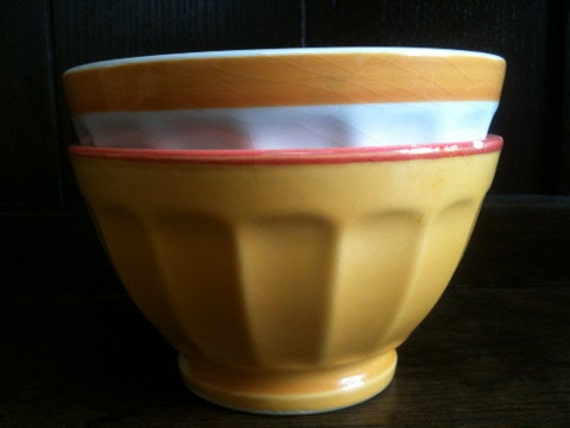 Vintage French Cafe au Lait Bowls / Mismatched Set of 2 / English Shop