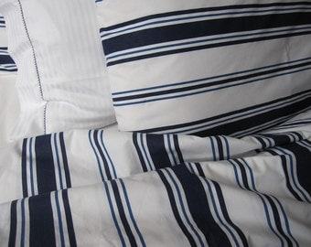 Nautical dorm room decor - white navy blue sailor stripe Twin XL size duvet cover marine decoration - college dorm boys bedding
