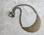 Hammered crescent necklace, brass jewelry, large statement necklace, gemma from soa, womens fashion, gifts for wife, costume jewelry