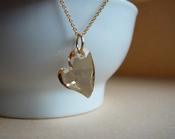 Swarovski heart pendant - Golden Shadow Swarovski Devoted 2 U Heart pendant - Gold filled chain - Free shipping to Canada & USA