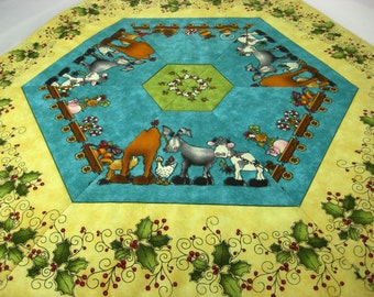 Quilted Table Topper - Reversible Christmas Autumn Leaves Place Mat - Seasonal Table Runner - Whimsical Holiday Animals - Fall Fiber Art