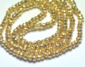 "3mm 13.5"" PYRITE beads Gold Coated"